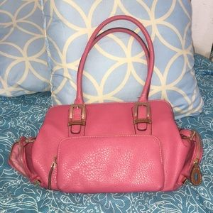 Liz Claiborne pink leather purse with brown trim